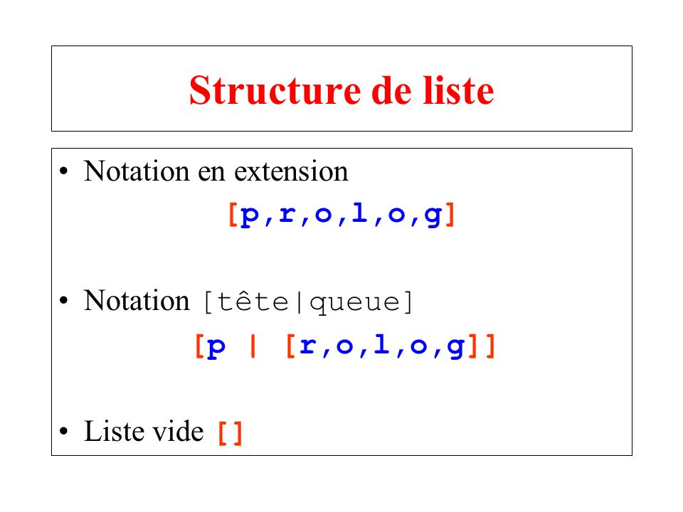 Structure de liste Notation en extension [p,r,o,l,o,g]